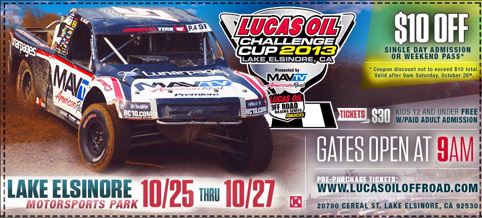 $10 Off Lucas Oil Off Road Tickets