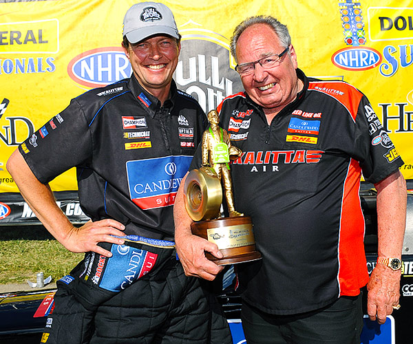 OPTIMA-sponsored Top Fuel racer, David Grubnic picks up a victory in Topeka