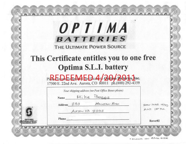 Why did Mike Boggs wait 12 years to redeem a free OPTIMA Battery Certificate?