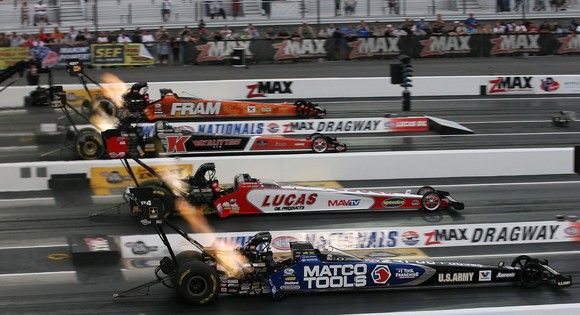 Four-wide NHRA drag racing this weekend!